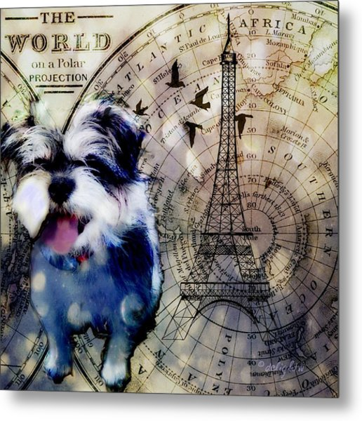 Metal Print featuring the digital art City Girl Goes To Paris by Delight Worthyn
