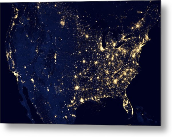 City Lights Of The United States Metal Print