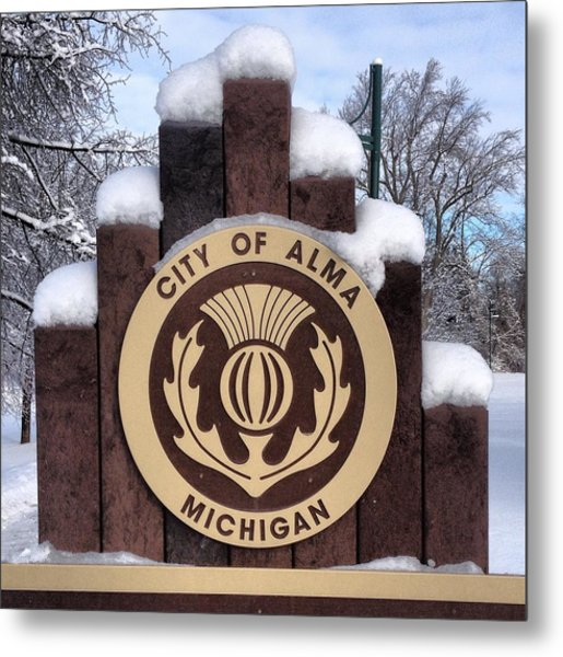 City Of Alma Michigan Snow Metal Print