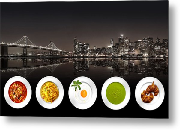 Metal Print featuring the digital art City Of Cultural Cuisines by ISAW Company