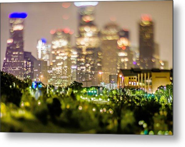 City Of Houston Texas Downtown Skyline With Tilt Lens Metal Print