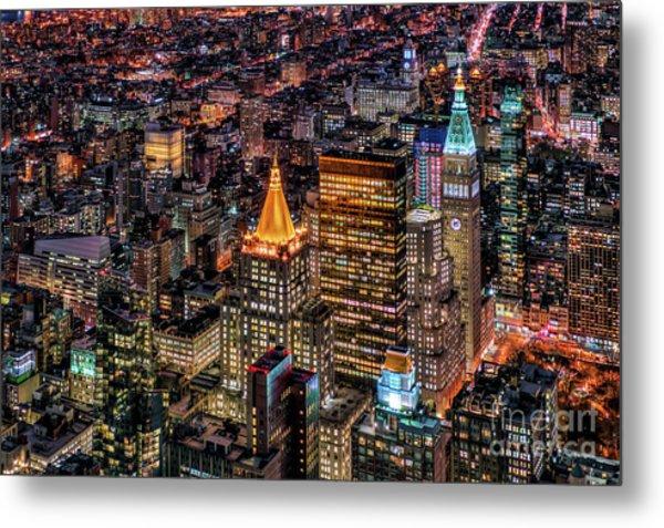 City Of Lights - Nyc Metal Print