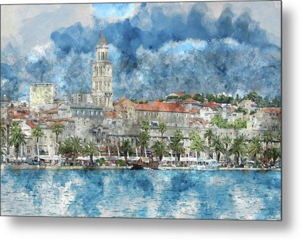 City Of Split In Croatia With Birds Flying In The Sky Metal Print