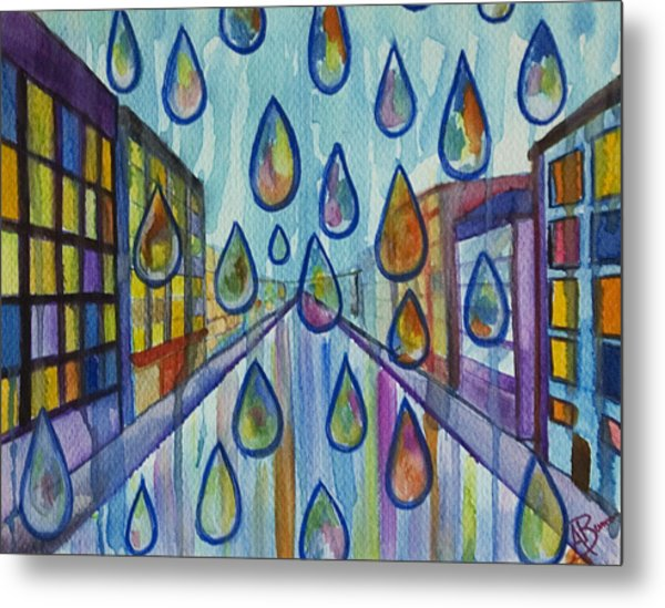 Metal Print featuring the painting City Rain by Angelique Bowman
