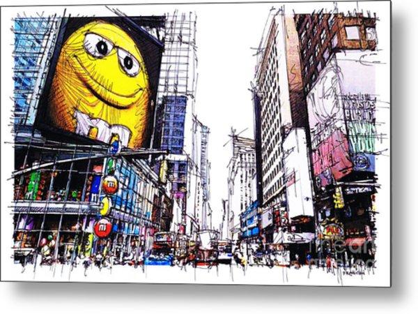 City Sketch, 7th Ave Broadway Manhattan, Yellow Mm Metal Print