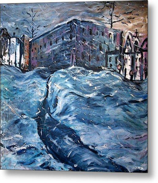City Snow Storm Metal Print