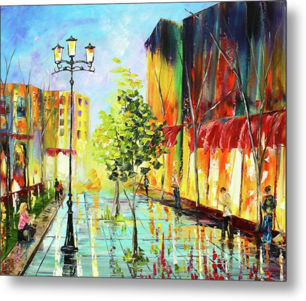 Metal Print featuring the painting City Street by Kevin Brown