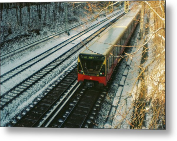 City Train In Berlin Under The Snow Metal Print