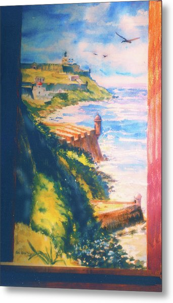 City Wall And Sentry Boxes  San Juan Puerto Rico Metal Print by Estela Robles