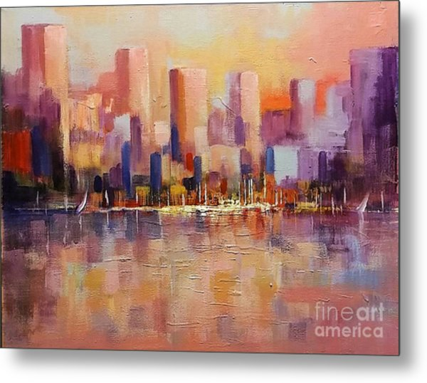 Metal Print featuring the painting Cityscape 2 by Rosario Piazza