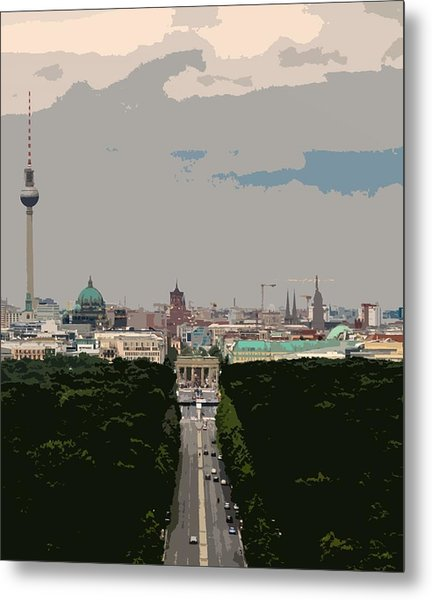 Cityscape Of Berlin - Painting Effect Metal Print