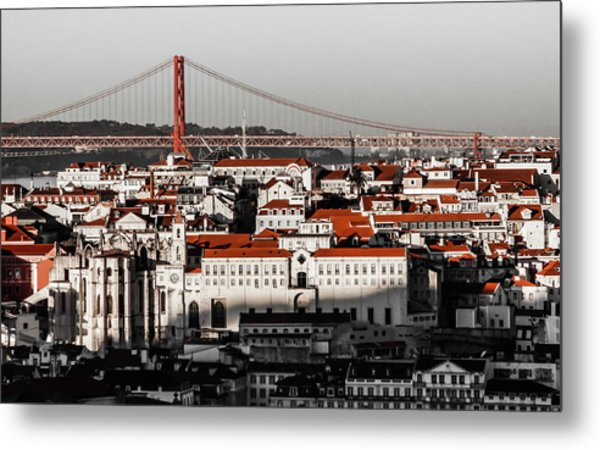 Lisbon In Black, White And Red Metal Print