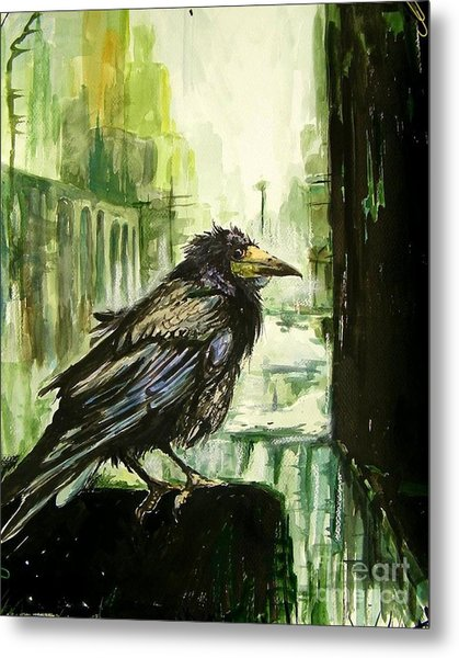 Cityscape With A Crow Metal Print