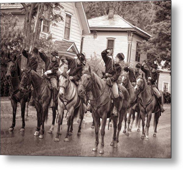 Civil War Soldiers On Horses Metal Print