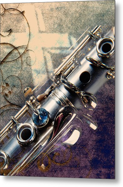 Clarinet Music Instrument Against A Cross 3520.02 Metal Print