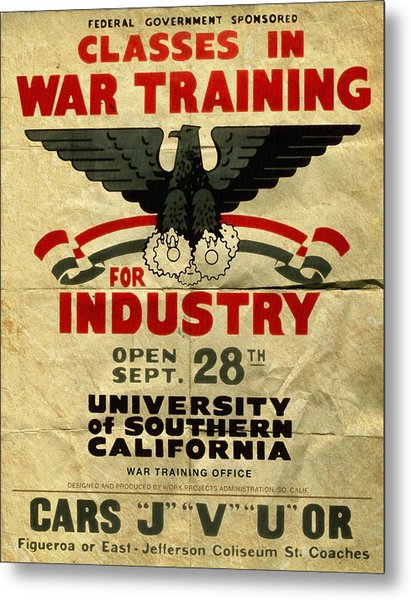 Classes In War Training For Industry - Vintage Poster Folded Metal Print