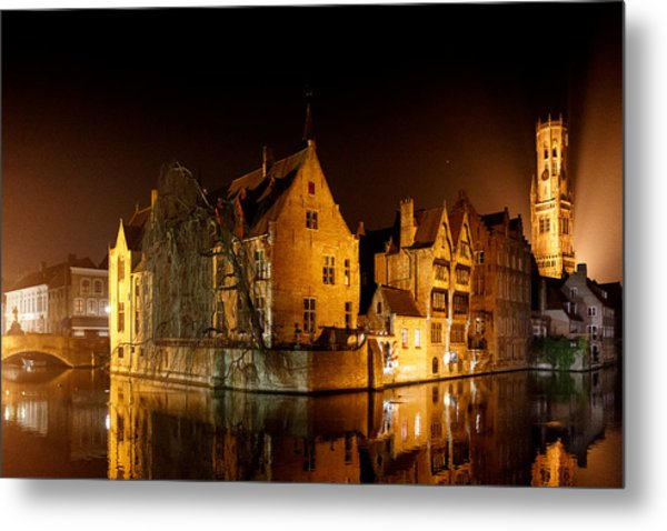 Classic Bruges At Night Metal Print