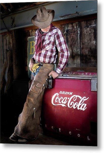 Classic Coca-cola Cowboy Metal Print