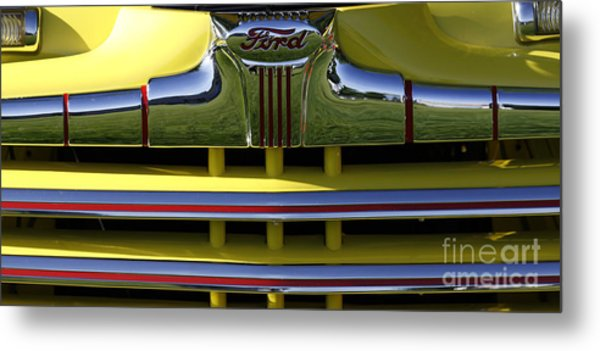 Classic Ford Chrome Grill Metal Print