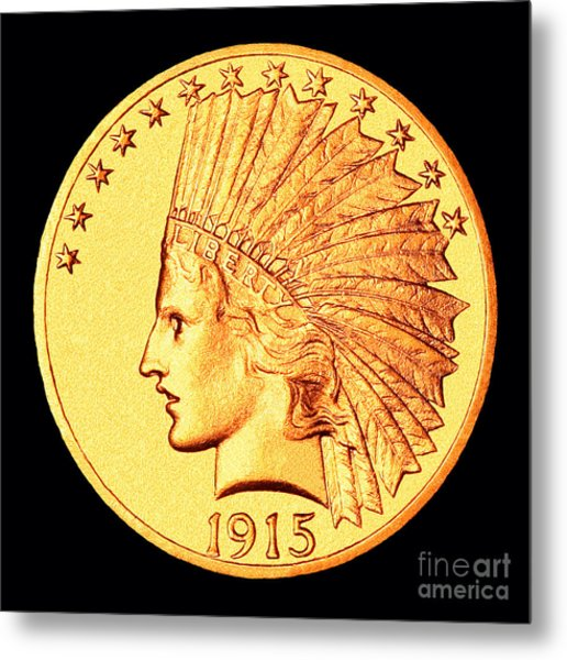 Classic Indian Head Gold Metal Print