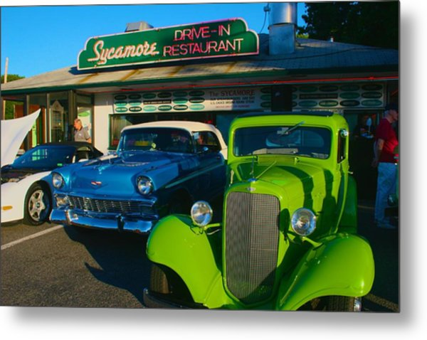 Classic Lime Green Car In Front Of The Sycamore Metal Print