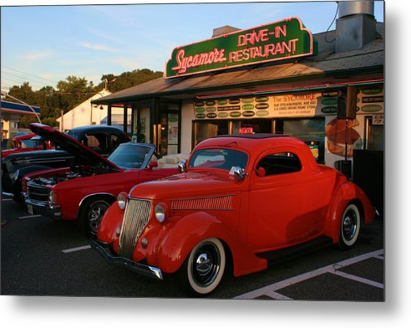 Classic Red Car In Front Of The Sycamore Metal Print