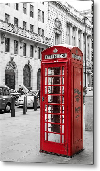 Red Telephone Box In London England Metal Print
