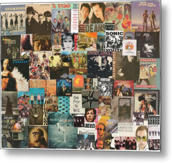 Classic Rock Lp Collage 1 Metal Print