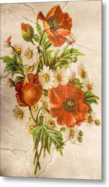 Classic Vintage Shabby Chic Rustic Poppy Bouquet Metal Print