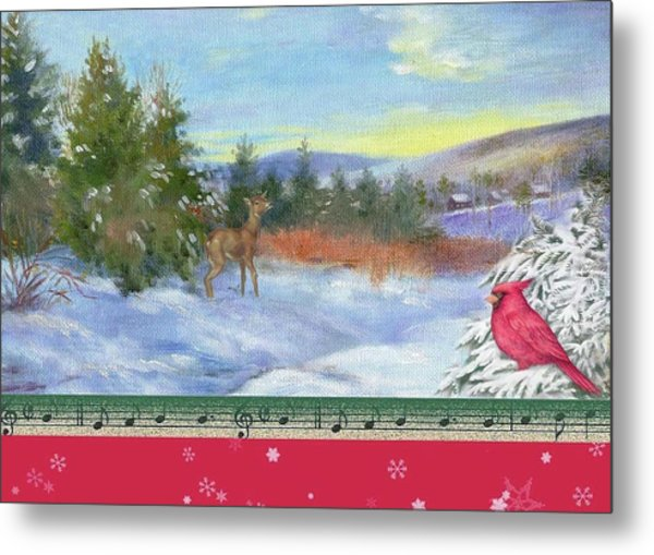 Classic Winterscape With Cardinal And Reindeer Metal Print