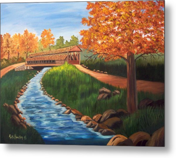 Claycomb Covered Bridge Sold Metal Print by Ruth  Housley