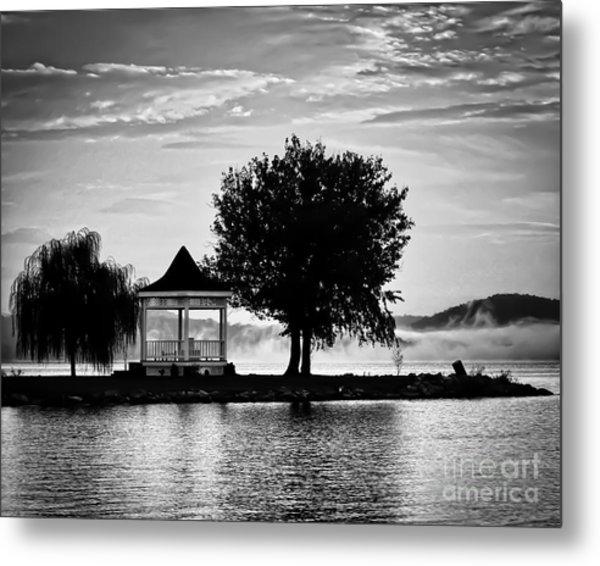Claytor Lake Gazebo - Black And White Metal Print