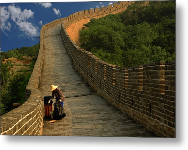 Cleaning The Great Wall Metal Print