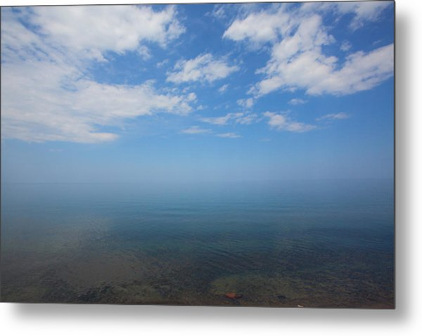 Clear Blue Waters With Clouds, Lake Superior Metal Print