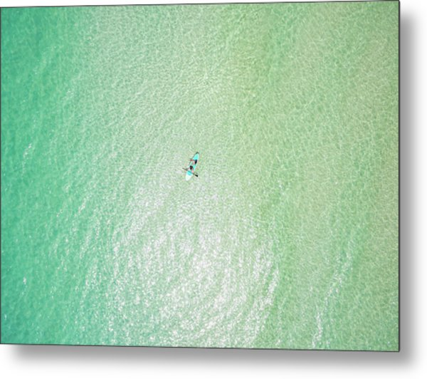 Clear Gulf Paddle Board Aerial Metal Print