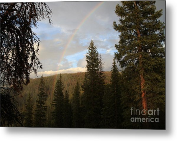 Clearing Rain And Rainbow Metal Print