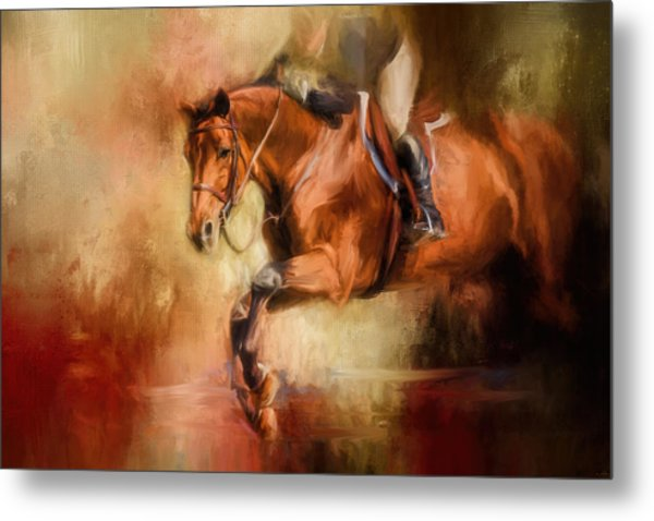 Clearing The Jump Equestrian Art Metal Print