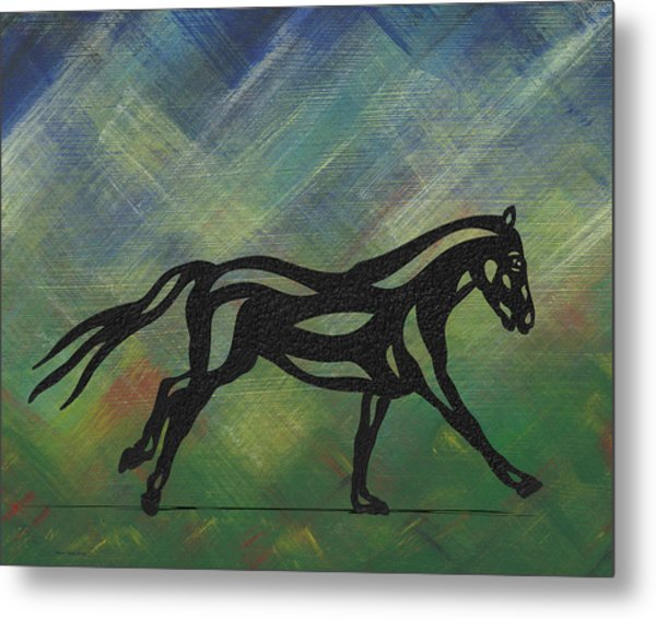 Metal Print featuring the painting Clementine - Abstract Horse by Manuel Sueess