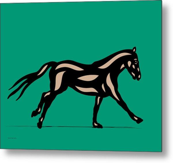 Clementine - Pop Art Horse - Black, Hazelnut, Emerald Metal Print