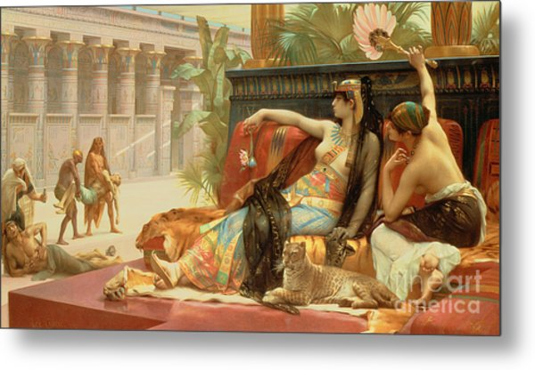 Cleopatra Testing Poisons On Those Condemned To Death Metal Print