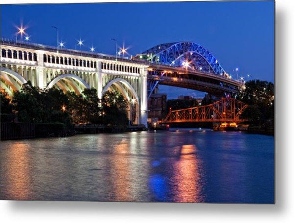 Cleveland Colored Bridges Metal Print
