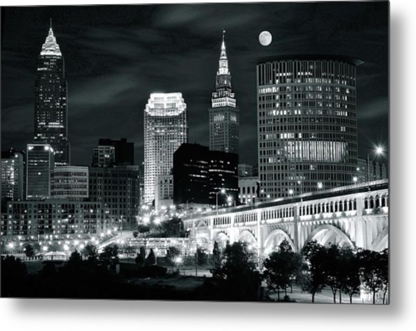 Cleveland Iconic Night Lights Metal Print