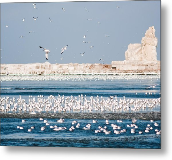 Cleveland Lighthouse In Ice  Metal Print