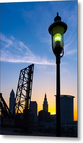 Cleveland Morning By The Lamp Post Metal Print