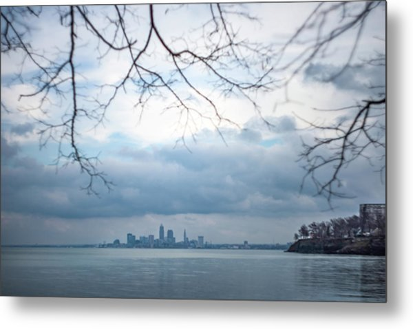 Cleveland Skyline With A Vintage Lens Metal Print