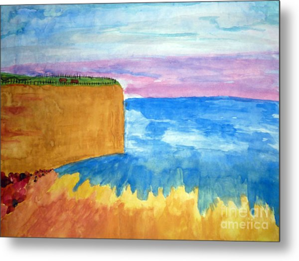 Cliffs And Sea Metal Print