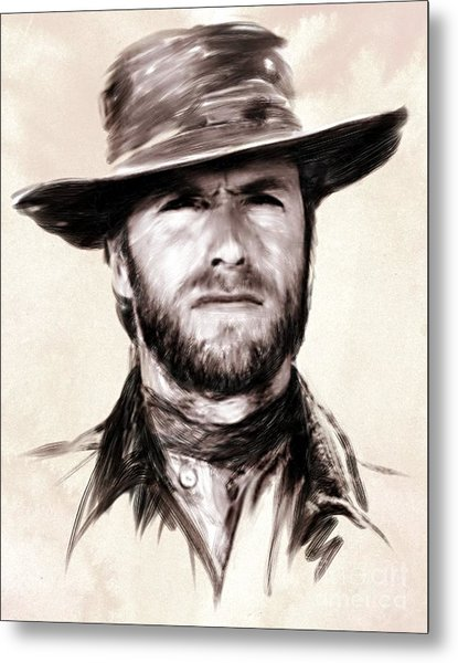 Clint Eastwood Portrait Metal Print by Wu Wei