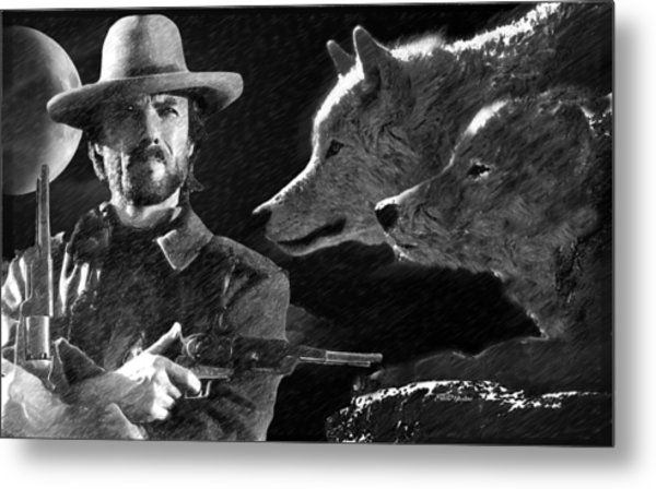 Clint Eastwood With Wolves Metal Print