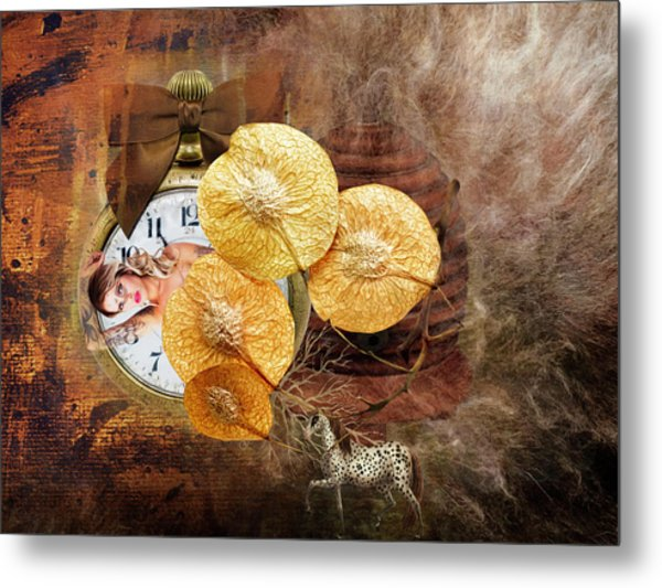 Clock Girl Metal Print
