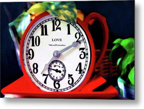 Clock In The Garden Painting  Metal Print